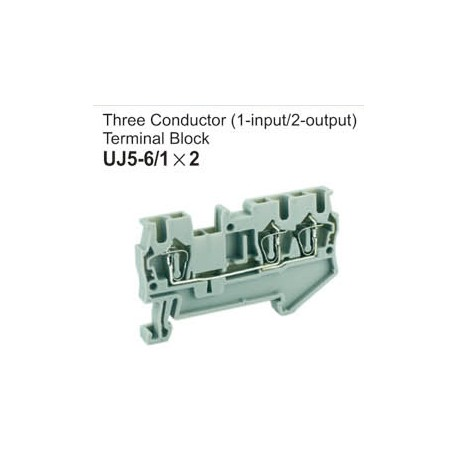 UJ5-6/1x2 Three Conductor Terminal Block