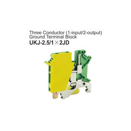 UKJ-2.5/1X2JD Three Conductor Ground Terminal Block