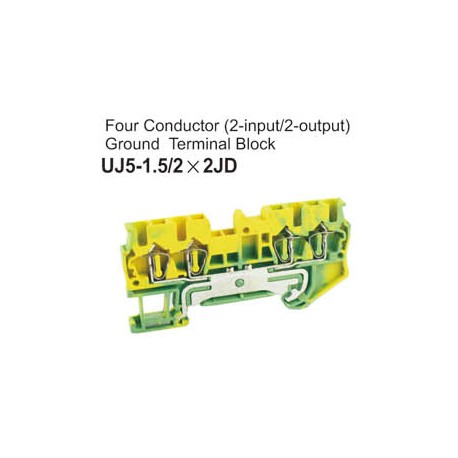 UJ5-1.5/2x2JD Four Conductor Ground Terminal Block