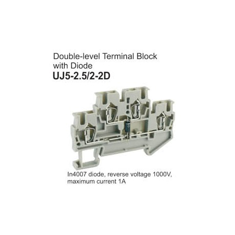 UJ5-2.5/2-2D Double-Level Terminal Block (Diode)
