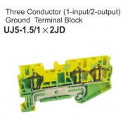 UJ5-1.5/1x2JD Three Conductor Ground Terminal Block